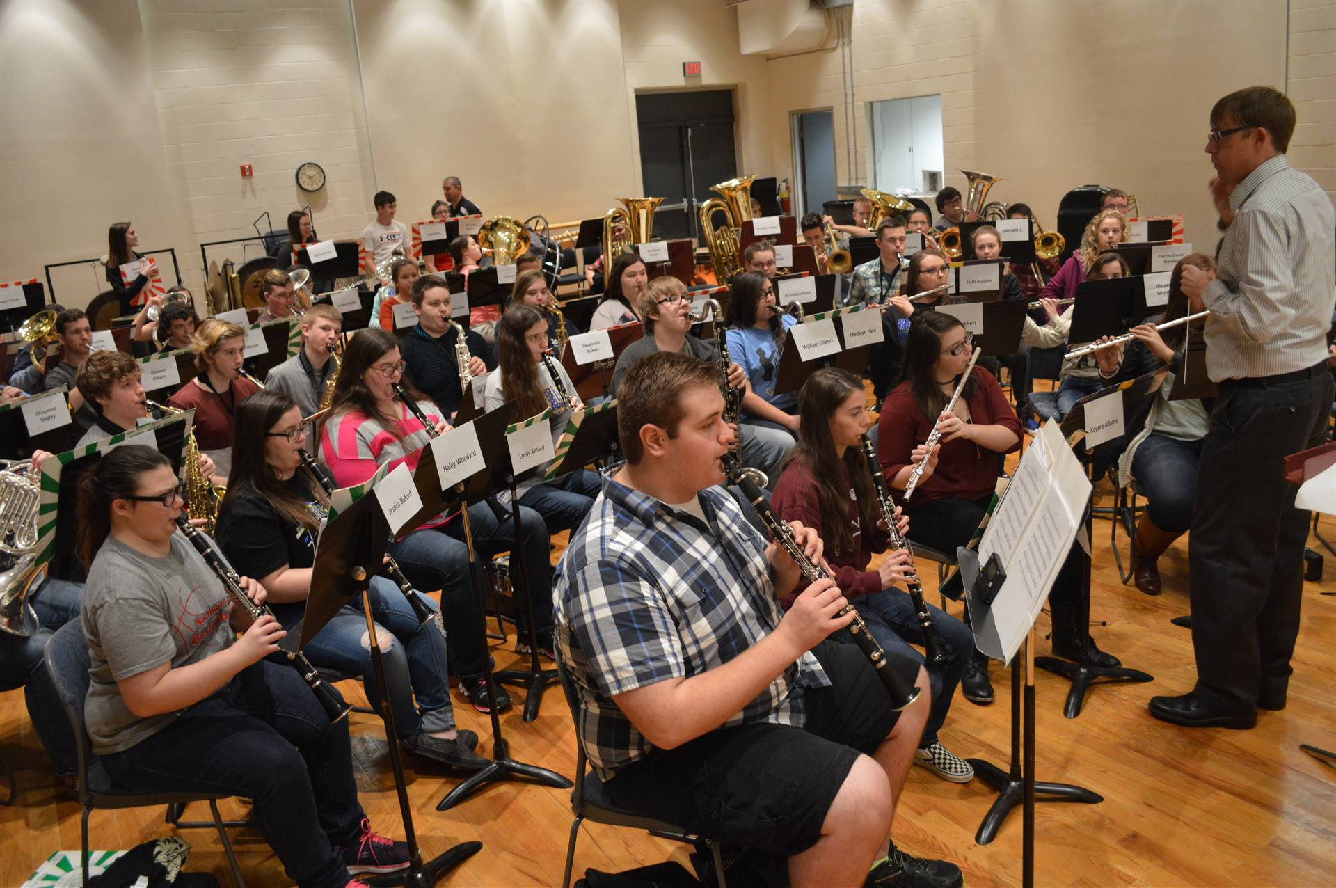 High School Band rehearsing with Guest Conductor, Dr. Brian Silvey